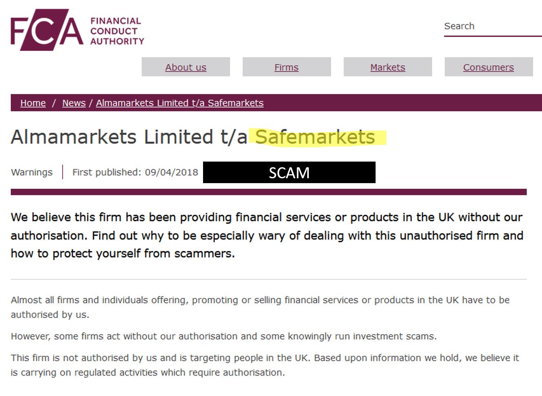 FCA warning against SafeMarkets