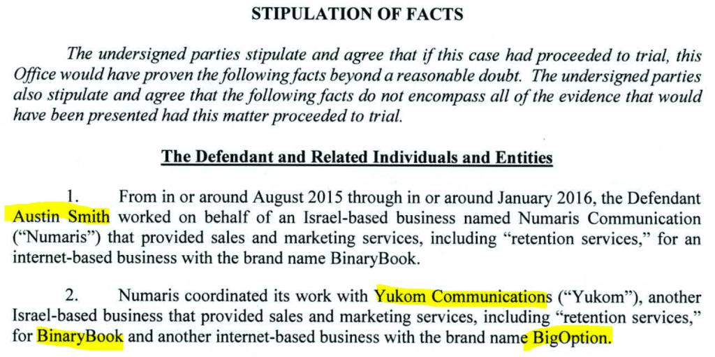 Austin Smith plea agreement Yukom fraud