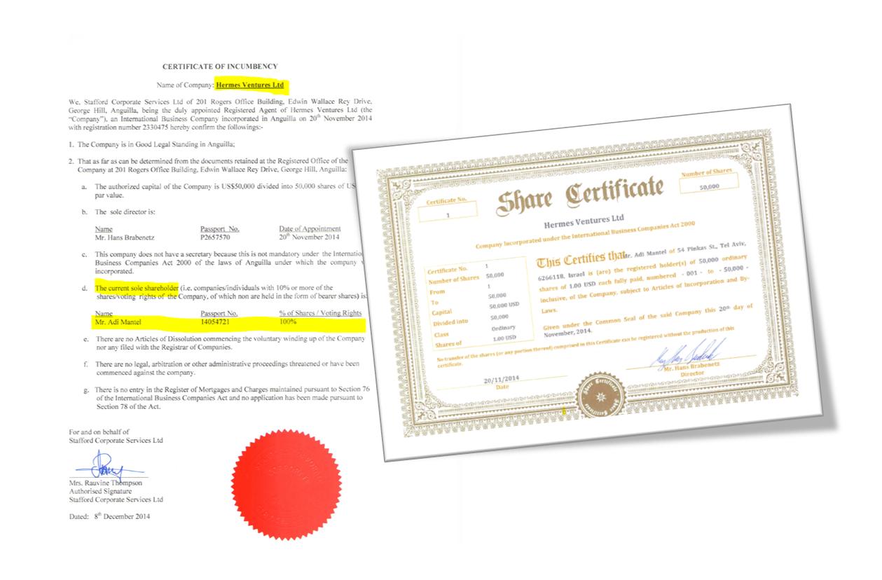 Adi Mantel and Hermes Ventures share certificate