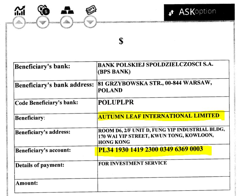 ASKoption payment confirmation to Autumn Leaf International