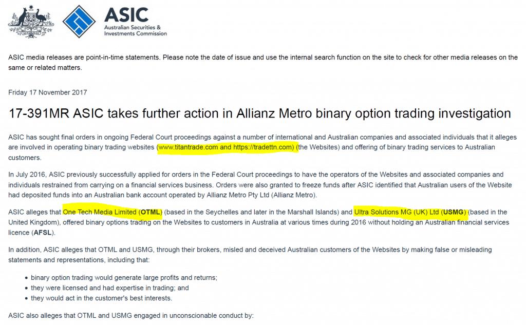 ASIC announced furhter action against TitanTrade Australia