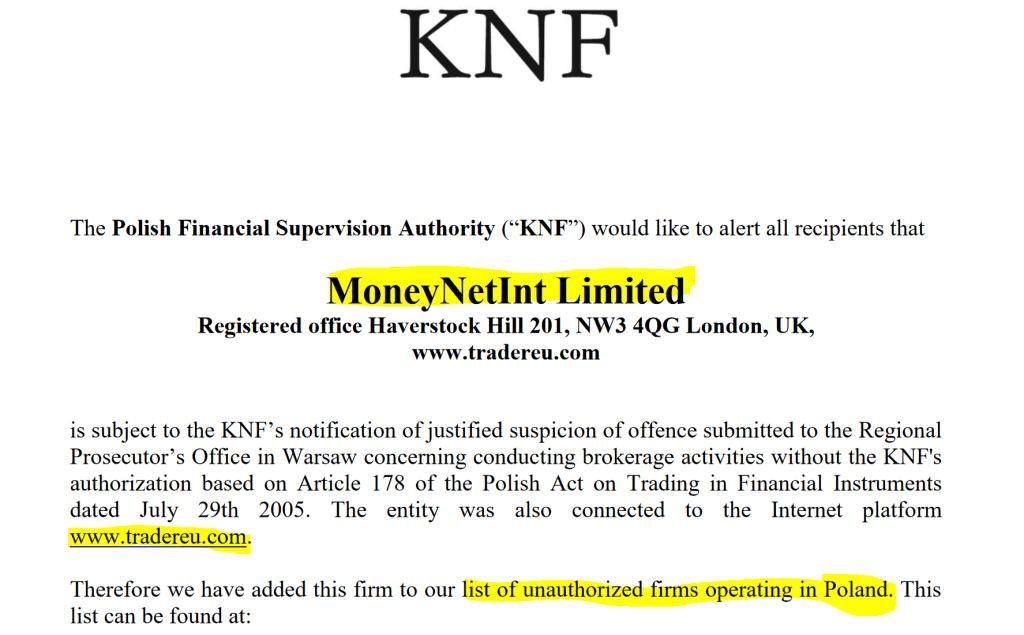 MoneyNetINt received investor warning from Polish regulator