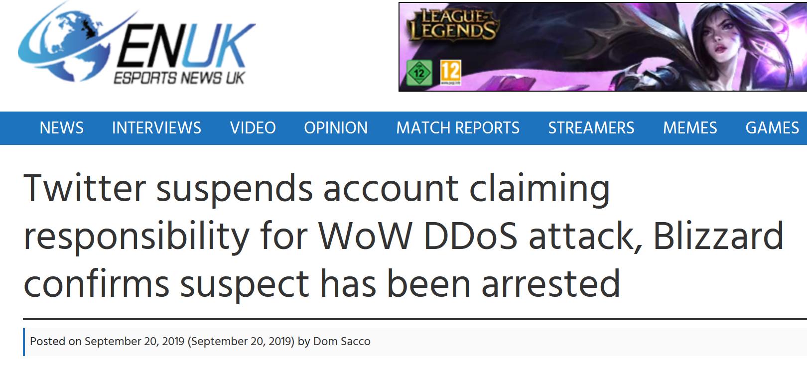 esports wow ddos attack