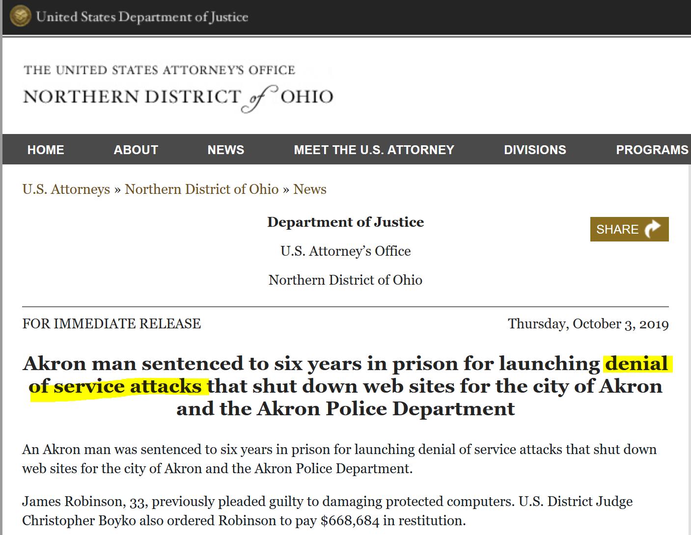 DDoS attacker receives 6 year prison term