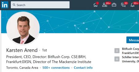 Karsten Arend of BitRush Corp