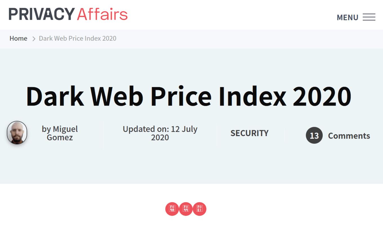 Cybercrime economy and the Dark Web Price Index