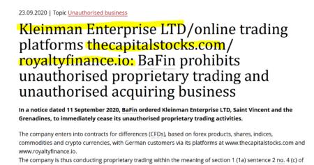 Bafin warns against Kleinman Enterprise with TheCapitalStocks and RoyaltyFinance
