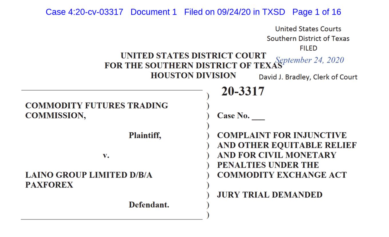CFTC complaint against PaxForex