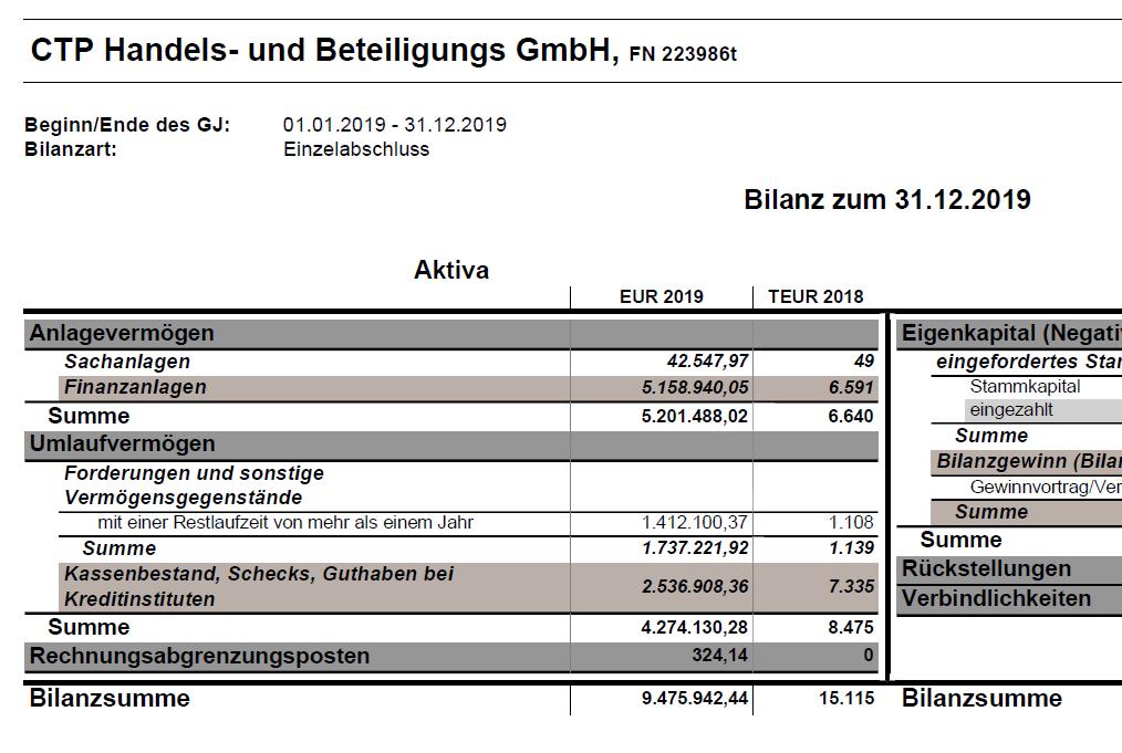 CTP GmbH Balance sheet 2019
