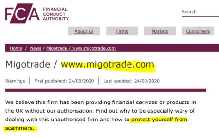 FCA warns against MigoTrade broker scam