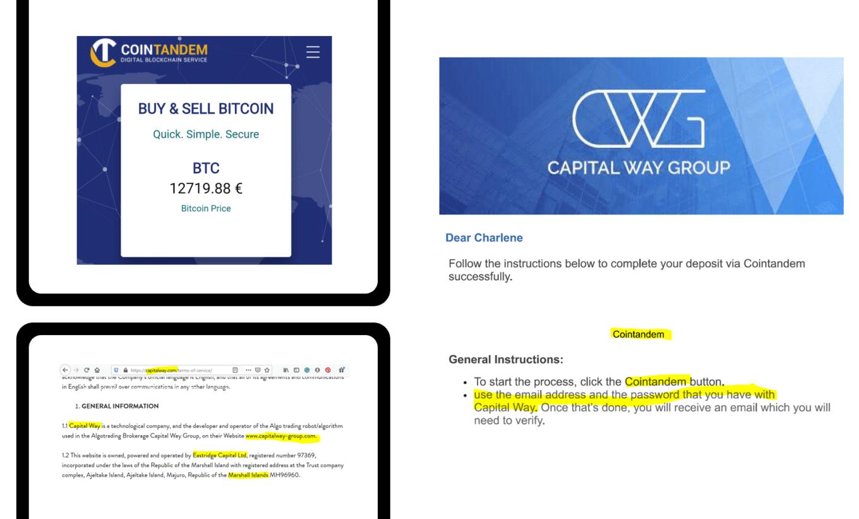 Estonian CoinTandem facilitates Capital Way Group broker scam