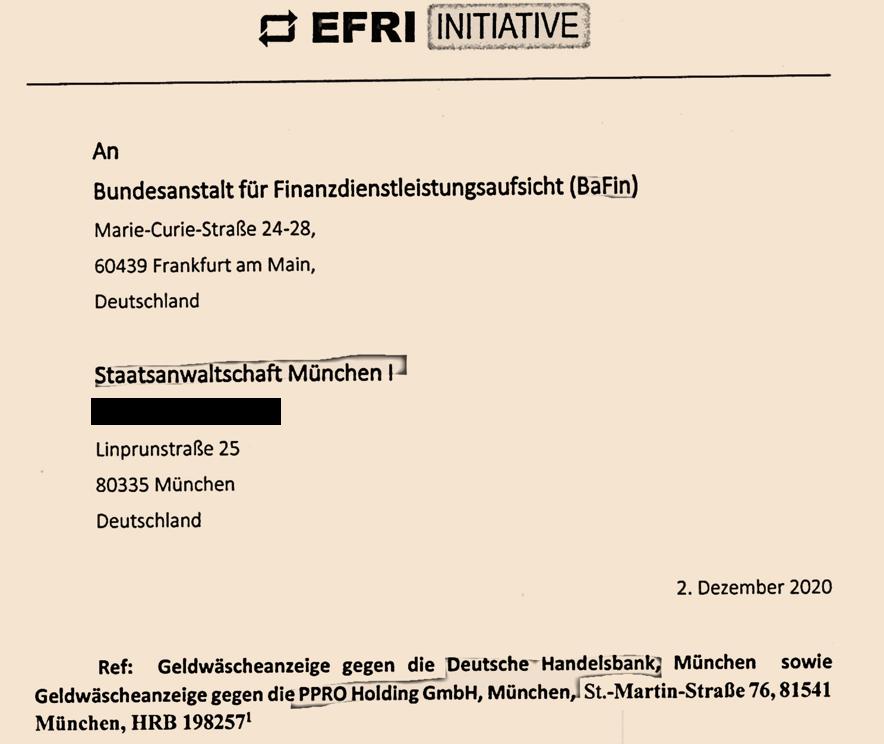 Deutsche Handelsbank and PPRO money-launering complaint