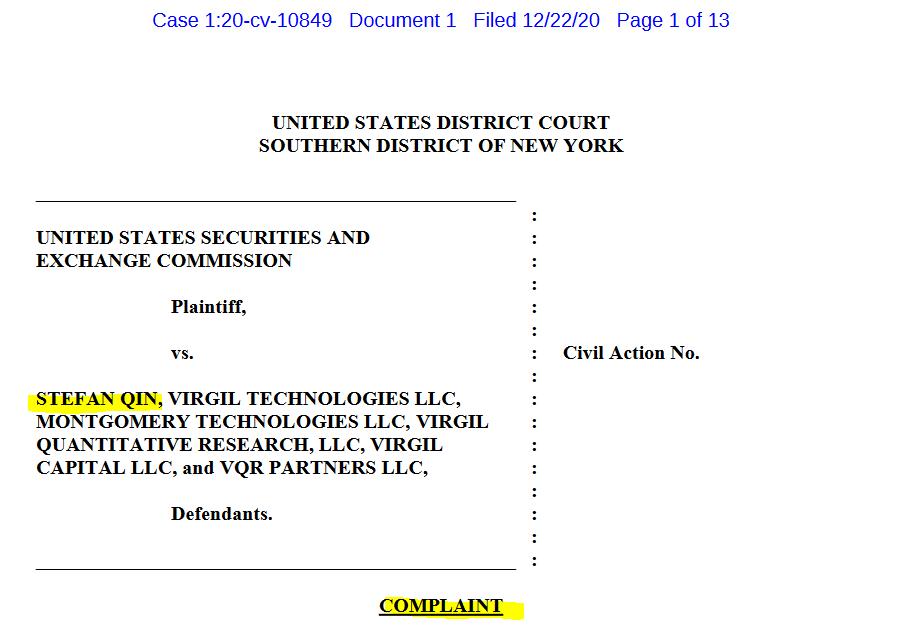 SEC files complaint against crypto scheme Virgil Capital