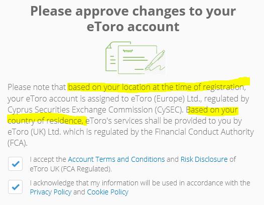 eToro custumer registration and regulatory assignment