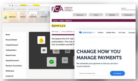 FCA warning against BimFX24 broker scam with BridgerPay