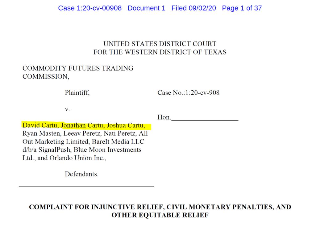 David Cartu charged by CFTC