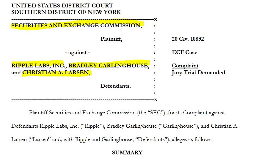 SEC complaint against Ripple Labs