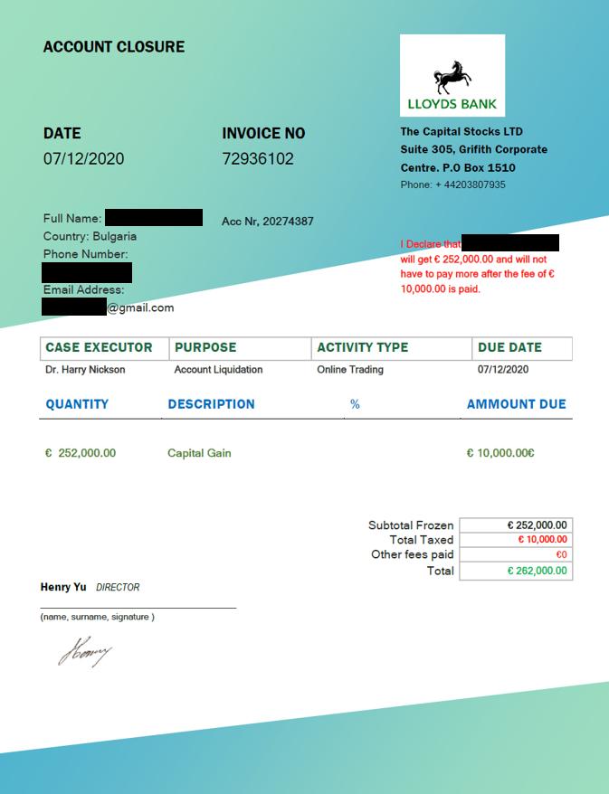 TheCapitalStocks fake invoice