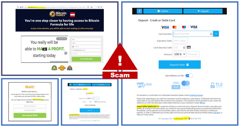 Bitcoin Formula and ProfitsTrade scams