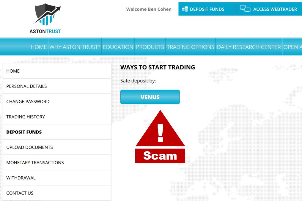 Investor warning AstonTrust broker scam