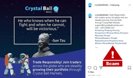 Crystal Ball Markets scam warning