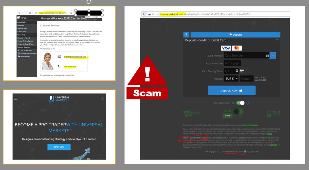 Investor warning Universal Markets broker scam with Praxis Cashier