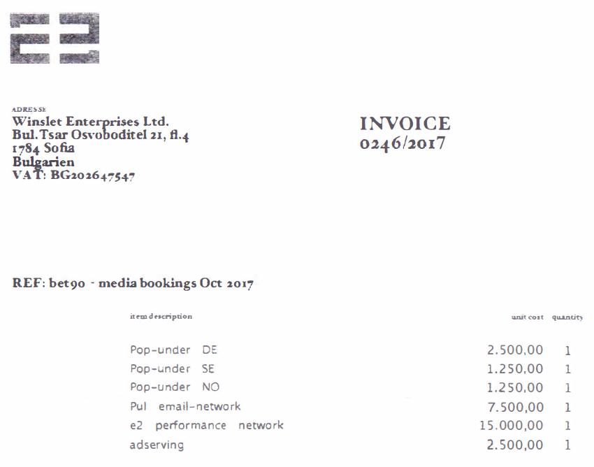 E-2 Communications invoice to Winslet Enterprises