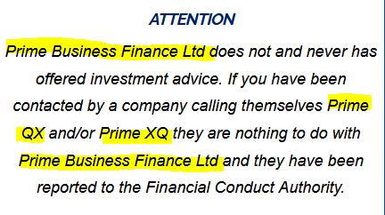 PrimeQX clones FCA-regulated Prime Business Finance Ltd