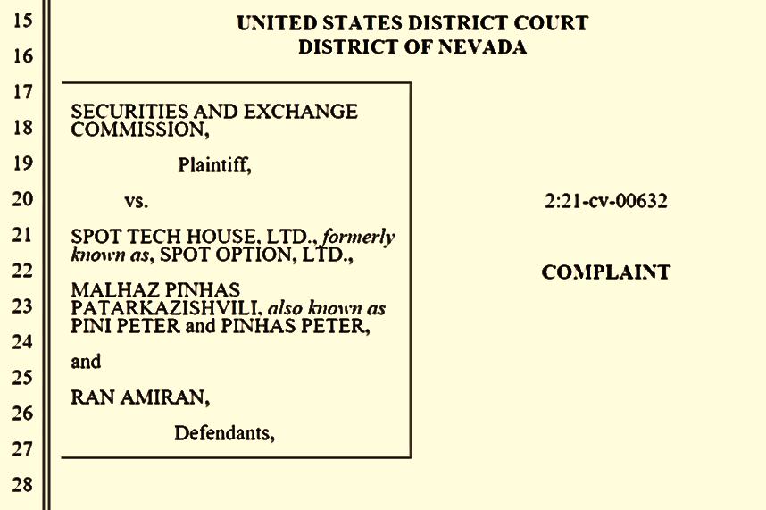 SEC complaint against SpotOption