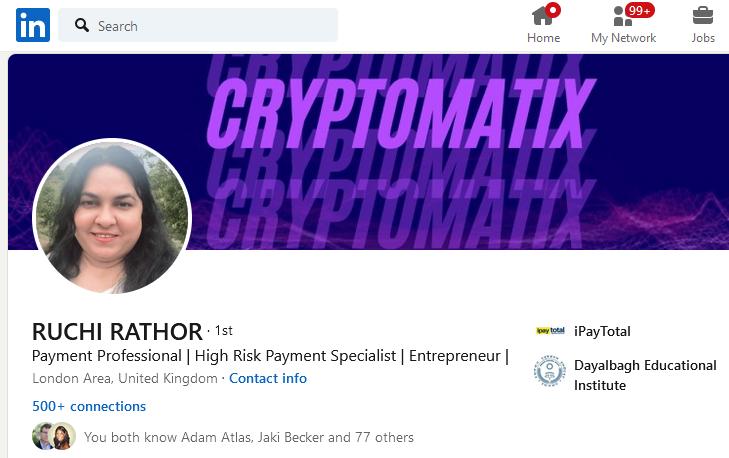 iPayTotal and Ruchi Rathor launch CryptoMatix