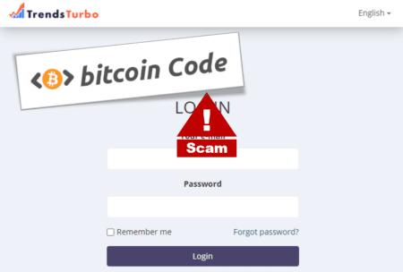 Bitcoin Code promotes TrendsTurbo broker scam
