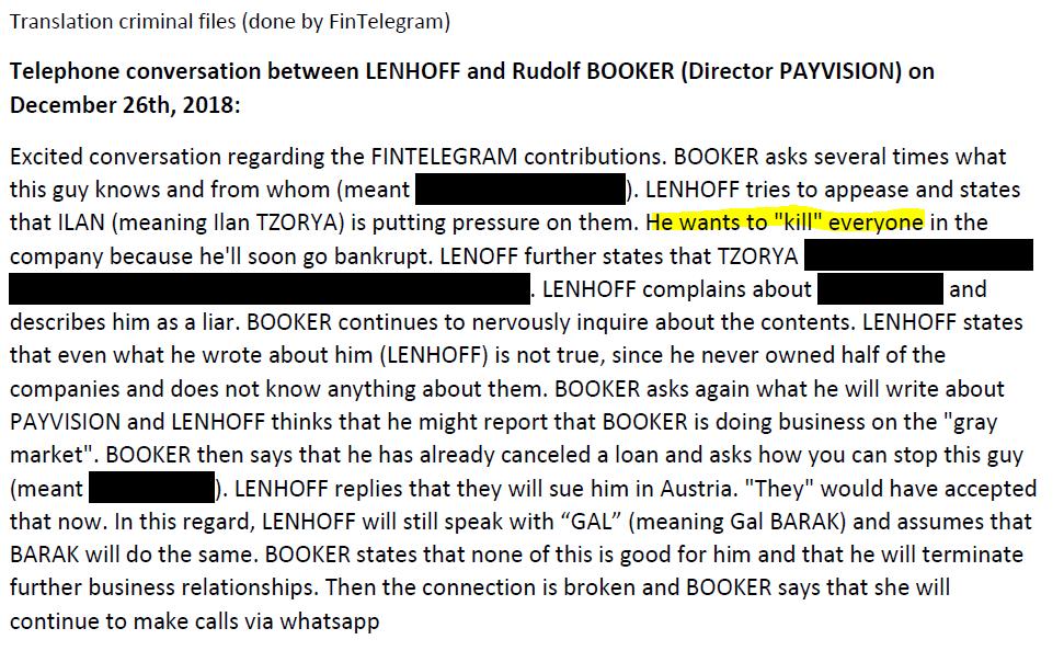 phone conversation between Uwe Lenhoff and Rudolf Booker (translation from criminal files)