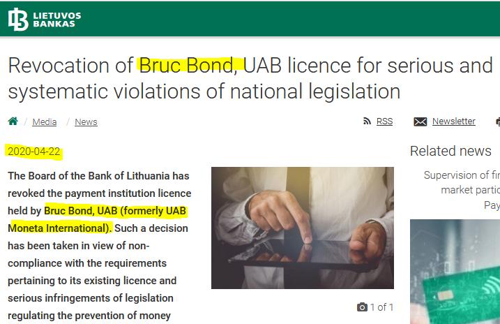 Bruc Bond revoked license of Bruc Bond formerly known as Moneta International of Eyal Nachum