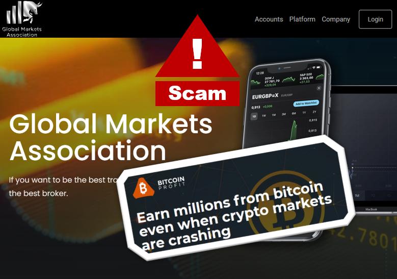 Fraudullent Bitcoin Profit campaign promotes Global Markets Association