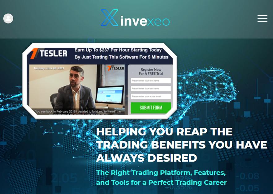 fraudulent Tesler promotes Invexio broker scam