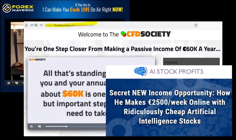 Forex Maverick CFD Society and AI Stock Profit fraud campaigns