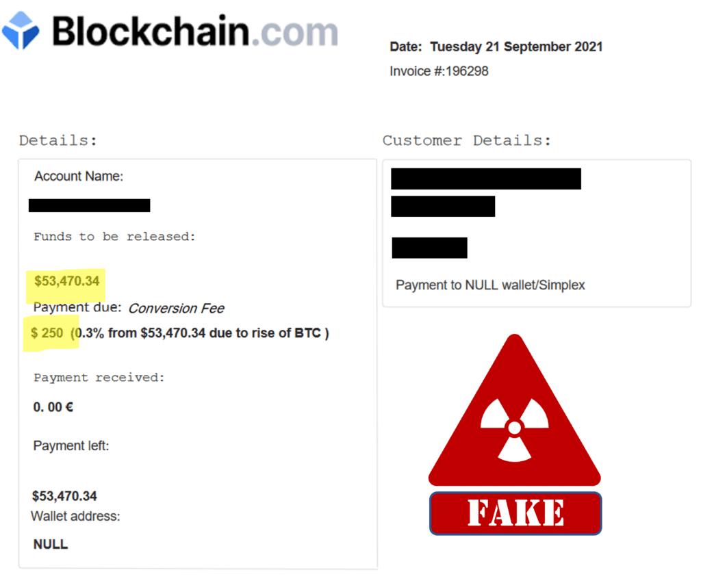 JoyTrust works with fake Blockchain.com account statements