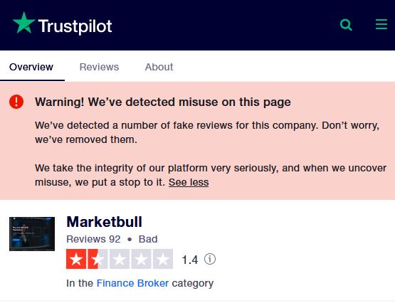 a poor trust level on Trustpilot for the market bull scam broker