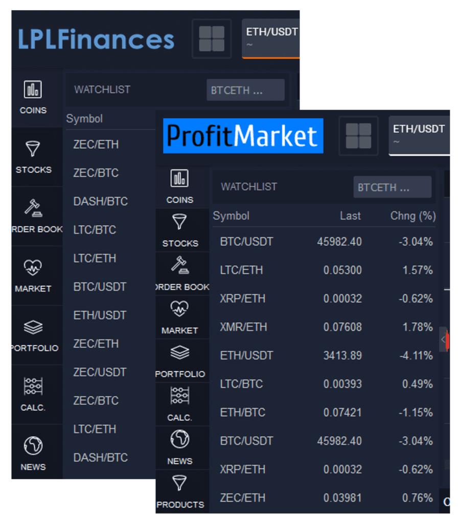 ProfitMarket and LPLFinances scams are whitelabel clones